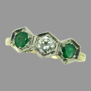 Antique 14k Yellow Gold Genuine Natural Emerald and Diamond Ring