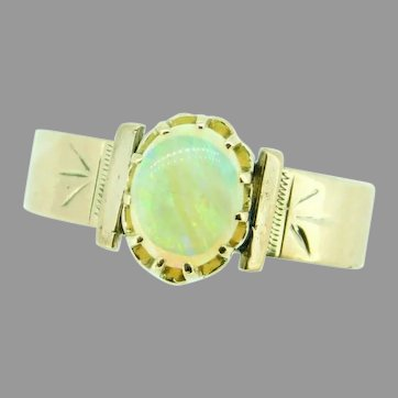 10k Rose Gold Genuine Natural Opal Victorian Wide Band Ring