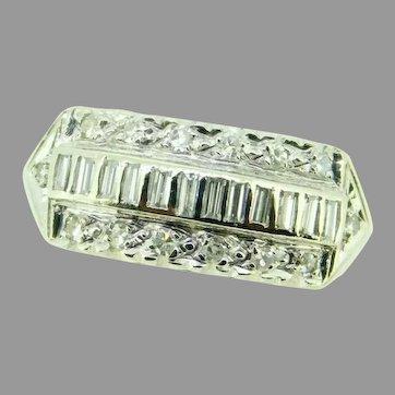 Vintage 14k White Gold Wide Genuine Natural Diamond Ring Band