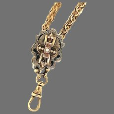 Victorian Watch Chain With LG Pearl Slide 29dwt