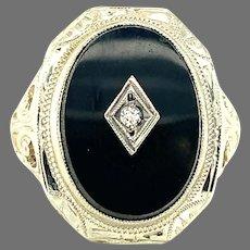 14K Diamond and Black Onyx Filigree Ring