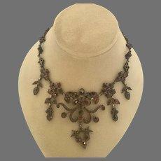 Elaborate Floral Bohemian Garnet Necklace