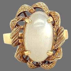 14K large white flash Moonstone Ring