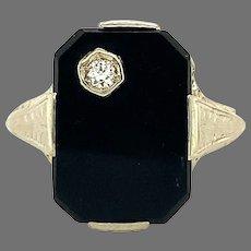 14K Filigree Black Onyx Diamond Ring