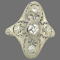 Platinum on 18K .35ct tw Diamond Filigree Ring