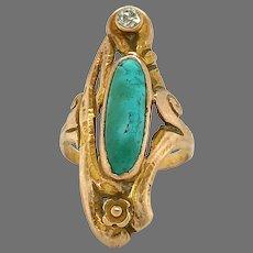 10K Art Nouveau Turquoise Diamond Ring