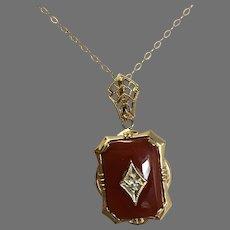 10K Art Deco Carnelian and Diamond Pendant