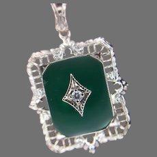 10K Art Deco Green Onyx Diamond Filigree Pendant