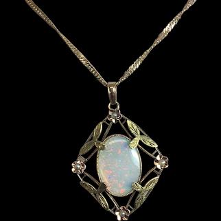 10K Victorian 3.73 carat Opal Lavaliere Pendant