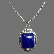 10K Art Deco Lapis Lazuli Pendant