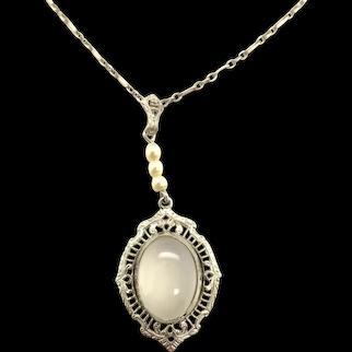 10K Moonstone Filigree Art Deco Necklace Pendant
