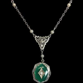 10K Green Onyx & Diamond Deco Pendant