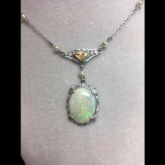 10K Art Deco Filigree 3 carat Opal Pendant
