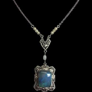 10K Art Deco Filigree 2.91 carat Black Opal Pendant