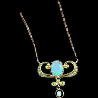 10K Victorian Opal Lavaliere Necklace