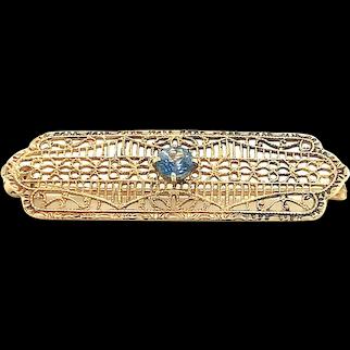 10K yellow gold filigree Sapphire Pin