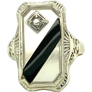 14K Rock Crystal and Black Onyx Filigree Ring