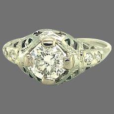 14K white gold .78ct Diamond Filigree Ring