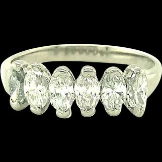 Platinum Diamond Marquise Wedding Band