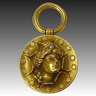 Antique 10k Patriotic Fob Pendant 3D Lady Liberty Face 13 Stars