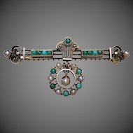 Antique Victorian Etruscan Style 10k Turquoise & Pearl Pin