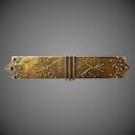 Antique 14k Etruscan Revival Bar Pin c1860