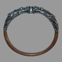 Chinese Ornate Repousse Sterling Dragons & Bamboo Bracelet