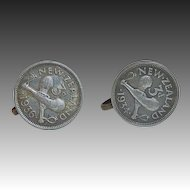 New Zealand 1934 3 Pence Coin Screwback Earrings