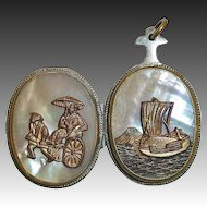 Double Sided Locket Oriental Designs on Mother of Pearl