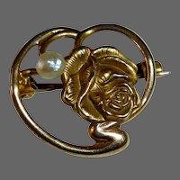 Antique Victorian Art Nouveau 10k Floral Rose Pin