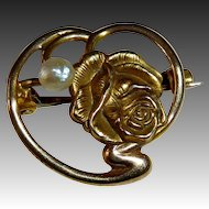 Antique Victorian Art Nouveau 10k Floral Rose Pin