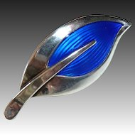 Rare N E From Sterling & Cobalt Blue Enamel Leaf Pin