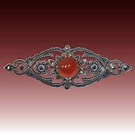 Art Deco Sterling Marcasite Carnelian Pin c1930s