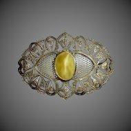 Antique Victorian Brass Sash Ornament Brooch
