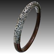Chinese Ornate Repousse Sterling & Bamboo Bracelet