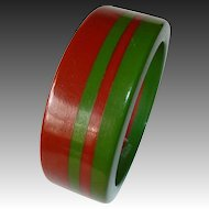 Chunky Two Color Laminated 4 Stripe Bakelite Bracelet