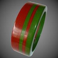 Chunky Two Color Laminated 4 Stripe Bakelite Bracelet