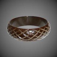 Dark Chocolate Wide Cross Check Bakelite Bracelet