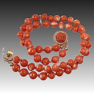 Coral Bead Bracelet 14k Carved Coral Rose Clasp