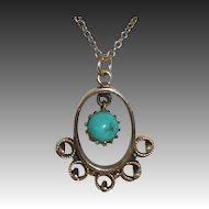 Victorian Revival 14k Yellow Gold Pendant Necklace w Turquoise