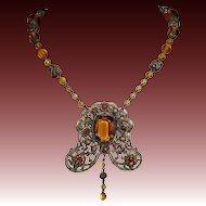 Ornate Victorian Amber Glass Jewel Necklace