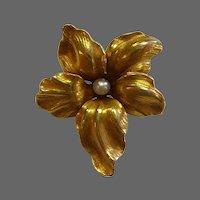 Antique 14k Art Nouveau Flower Pin w Pearl