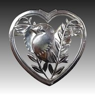 Coro Norseland Sterling Dove in a Heart Pin