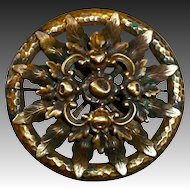 Dimensional Brass Foliate Design Pin c1940s