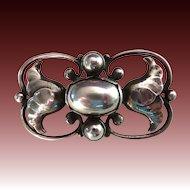Georg Jensen Sterling Silver Pearl Pin w Flowers #236