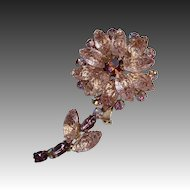 Pink Dimensional Lava Glass Daisy Flower Pin