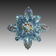 Sparkling Blue & AB Layered Rhinestone Pin