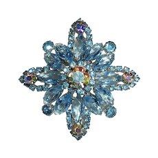 Sparkling Blue & AB Layered Rhinestone Pin