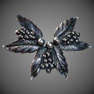 Designer Sterling Carl Ruopoli Leaf & Berry Pin