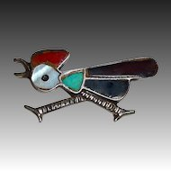 Native American Sterling Roadrunner Inlaid Pin